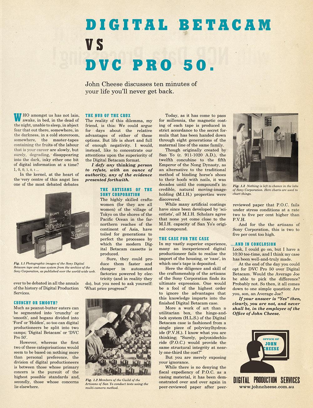 Digital Betacam vs DVC Pro 50